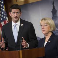 Done deal?: Republican Rep. Paul Ryan (left) speaks about a potential deal on the U.S. budget as Democratic Sen. Patty Murray looks on during a news conference in Washington on Tuesday. | AP