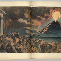 'The Panic': This illustration by Udo J. Keppler from Puck Magazine, called 'The Panic,' shows capitalists on Wall Street fleeing a volcano labeled 'Common Honesty' erupting in the background. They are carrying packages labeled 'Secret Rate Schedules, Rebate Agreements, Watered Stocks, [and] Frenzied Accounts.' The top of the volcano shows the face of Theodore Roosevelt. | THE WASHINGTON POST