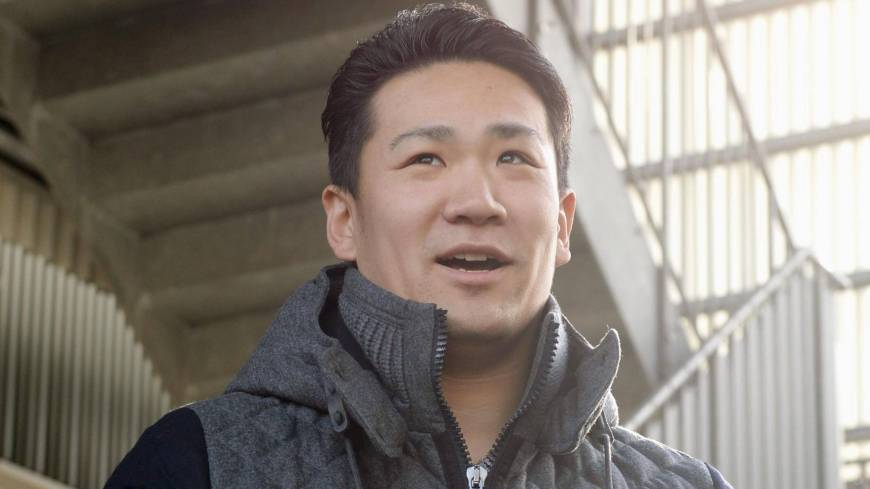 On the move: Tohoku Rakuten Golden Eagles pitcher Masahiro Tanaka speaks to reporters on Wednesday in Sendai after the team said it will grant his request and post him for the major leagues. | KYODO