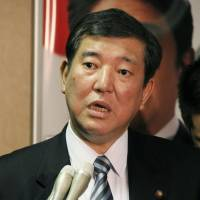 What I meant: Liberal Democratic Party Secretary-General Shigeru Ishiba corrects his earlier comments made Wednesday at the Japan National Press Club.  | KYODO