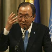 Plea for peace: United Nations Secretary-General Ban Ki-moon gestures during a press conference in Makati, the Philippines, on Sunday while expressing grave concern about the deteriorating security situation in South Sudan and demanding an end to violence there. | AP