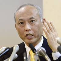 In the starting blocks: Former health minister Yoichi Masuzoe officially announces Tuesday in Tokyo that he run in the gubernatorial election. | KYODO