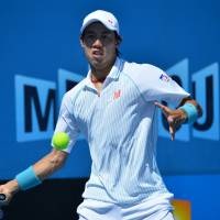 No sweat: Kei Nishikori plays a shot during his second-round win over Dusan Lajovic at the Australian Open on Thursday. | AFP-JIJI