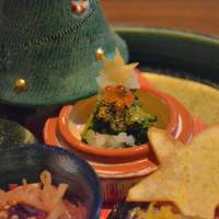 Creative cuisine: Broccoli with fish eggs and other morsels is one of many colorful courses at Harimaya — in this case with a Christmas theme. | JJ O'DONOGHUE
