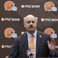 Big job ahead: Mike Pettine speaks at a news conference on Thursday in Berea, Ohio, after being introduced as the new head coach of the Cleveland Browns.   AP