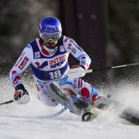 Coming right at you: France's Jean-Baptiste Grange competes in a World Cup slalom in Bormio, Italy, on Monday. Grange finished sixth in 2 minutes, 0.87 seconds. | AFP-JIJI