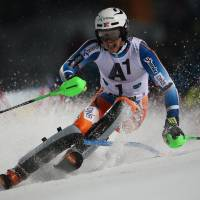 First victory: Norway's Henrik Kristoffersen competes in a World Cup slalom in Schladming, Austria, on Tuesday night. Kristoffersen won in a time of 1 minute, 47.43 seconds. | AP