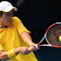 Not his year: Kei Nishikori plays a shot against Rafael Nadal during his straight-sets loss on Monday. | AFP-JIJI