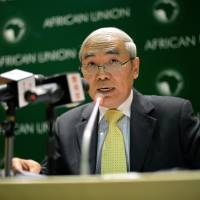 Harsh words: Xie Xiaoyan, China's ambassador to Ethiopia and permanent representative to the African Union, gives a press conference on Japanese-Chinese relations at the African Union headquarters in Addis Ababa on Wednesday. | AFP-JIJI