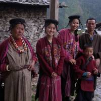 Year abroad: Tamako Mitarai (second from left) poses with residents in Merak Sakten, eastern Bhutan. | COURTESY OF   TAMAKO MITARAI