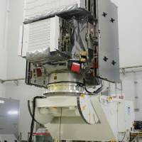 Bring the rain: An H-IIA F23 launch vehicle is shown Thursday at a Mitsubishi Heavy Industries Ltd. facility in Aichi Prefecture. The rocket will be used in February to put the Global Precipitation Measurement core observatory, developed by the Japan Aerospace Exploration Agency and NASA, into orbit. | KYODO