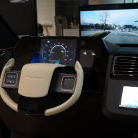 Touch me: A 'Feely Pad' steering wheel is displayed at Pioneer's showroom in Ginza.   KAZUAKI NAGATA