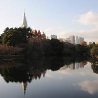 Hidden oasis: Those who tire of the noise and bustle of the big city can find peace in Shinjuku Gyoen, a traditional garden southeast of the train station. | SATOKO KAWASAKI