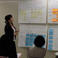 Plotting a positive path: Female employees at Aeon Retail Co. discuss major events in their life and career and how to overcome workplace challenges during  a seminar in June. | KYODO