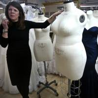 True to life: David's Bridal Senior Vice President Michele von Plato shows off a plus-size mannequin during an interview last month in New York. | AP