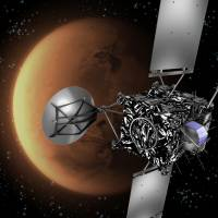Booster planet: This ESA illustration shows the Rosetta probe passing Mars. | AFP-JIJI