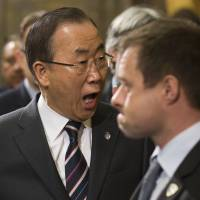 Aghast?: United Nations Secretary-General Ban Ki-moon arrives for the so-called Geneva II conference on Syria at the United Nations headquarters in the city on Tuesday. | AP