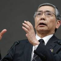 Liquidity overlord: Haruhiko Kuroda, governor of the Bank of Japan, gestures while making a speech to the Keidanren business lobby in Tokyo on Dec. 25. | BLOOMBERG