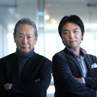 Power partners: Nobuyuki Idei, chair of Asia Innovators Initiative (left), and Gen Isayama, co-founder and CEO of WiL  LLC, pose for a photo in Tokyo on Monday. | BLOOMBERG