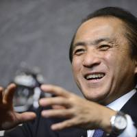 On target: Hiroyuki Yanagi, president and chief executive officer of Yamaha Motor Co., is interviewed on Thursday. | BLOOMBERG