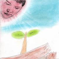 Hope springs: A drawing by a boy from Fukushima city, including Read's portrait of the child artist. | COURTESY OF GEOFF READ
