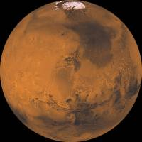 Mars is seen in a 2008 photograph composition made of about 1,000 separate images.   NASA