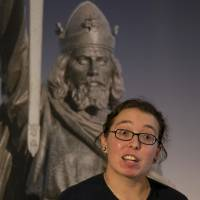 Old bones: Dr. Katie Tucker, researcher in human osteology at the University of Winchester, attends a news conference in Winchester, England, on Friday. Researchers said they may have discovered the remains of King Alfred the Great, the ninth-century royal remembered for protecting England from the Vikings and educating a largely illiterate nation. | AP