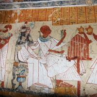 Dead drunk: Colored inscriptions are seen Friday on a newly discovered tomb in Luxor, Egypt. The country's minister of antiquities said Japanese archaeologists have unearthed the final resting place of an ancient beer brewer in the city that is more than 3,000 years old.   AP