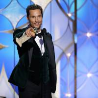 Golden boy: Matthew McConaughey accepts the award for best actor in a motion picture drama for his role in 'Dallas Buyers Club' during the 71st annual Golden Globe Awards on Sunday in Beverly Hills, California. | AP