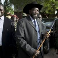 Former allies: In this photo from April 26, 2010, South Sudanese Vice President Riek Machar (left) and President Salva Kiir arrive for a news conference in Juba. | AP