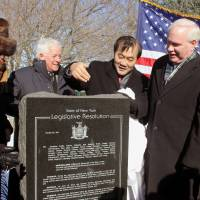 For the record: New York state lawmakers and members of Korean-American and other community groups unveil tablets dedicated to women who were forced into sexual slavery before and during the war at Veterans Memorial in Eisenhower Park on Long Island on Friday. | KYODO