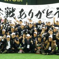 Historic triumph: The Obic Seagulls, enjoying the spotlight after their  34-16 victory on Friday, have now won a record four straight Rice Bowls. | KAZ NAGATSUKA