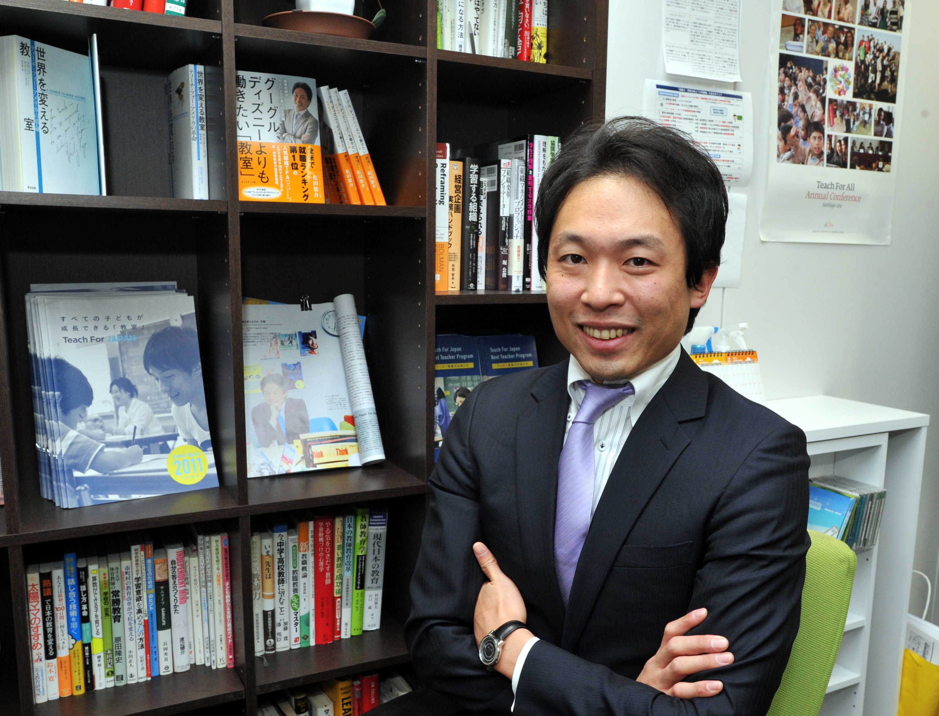Yusuke Matsuda, founder and CEO of Teach For Japan, is pictured in his office in Tokyo in January. | YOSHIAKI MIURA