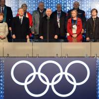 Russian President Vladimir Putin declares the Olympic games open Friday during the opening ceremony at the Fisht Olympic Stadium in Sochi, Russia. | AFP-JIJI