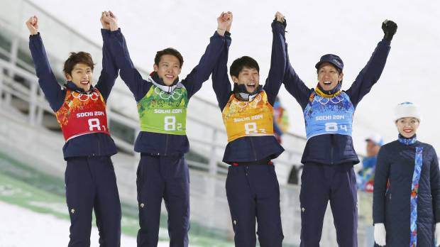 Kasai leads way as Japan takes bronze in large hill team jump