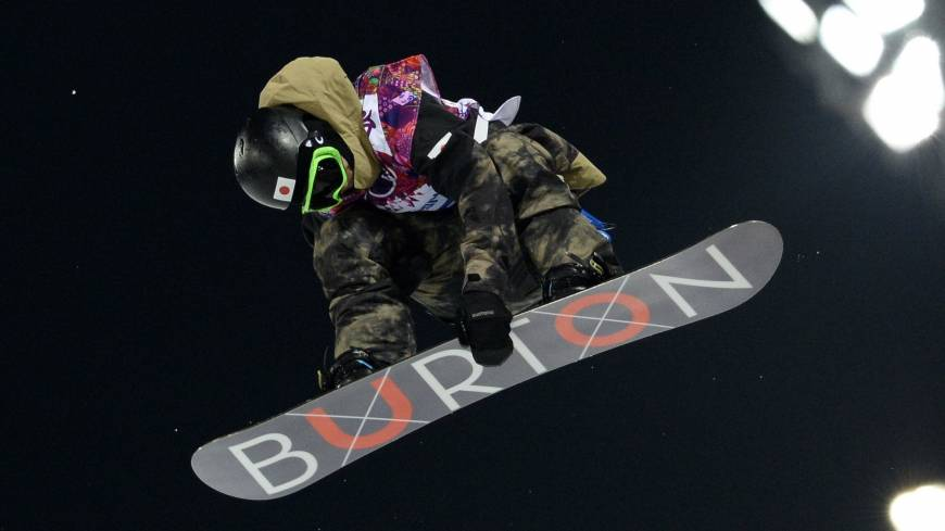Taku Hiraoka sails through the air on his way to a bronze medal in the men's snowboard halfpipe at the Rosa Khutor Extreme Park.