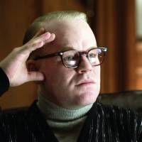In this undated publicity photo, Philip Seymour Hoffman portrays author Truman Capote in a scene from the film 'Capote,' a performance that won him the Oscar for best actor in 2006.