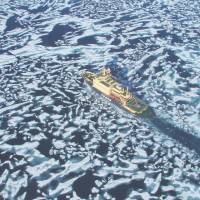 I-spied: The Russian icebreaker-cruise ship Kapitan Klebnikov seen from one of its helicopters plowing through sea ice north of Hokkaido. | MARK BRAZIL