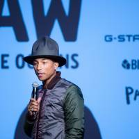 Water wear: Musician and fashion entrepreneur Pharrell Williams at the Feb. 8 New York launch of the Vortex Project to make fabric from plastic waste in the oceans. The first fruit of this will be a line of denim clothing called Raw for the Oceans. | BFA NYC