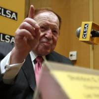 Las Vegas Sands Chairman and CEO Sheldon Adelson holds a news conference in Tokyo on Monday. Adelson is willing to bet $10 billion that his group will become the casino leader in Japan. What remains to be seen is whether one of the world's last great untapped gaming markets is willing to bet on him. | REUTERS