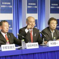 Taking it to the public: Four major candidates running for Tokyo governor debate their policies in Tokyo on Saturday.   KYODO