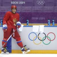 Just chill out: Russian star Alex Ovechkin takes a breather during practice on Monday in Sochi, Russia. | AP