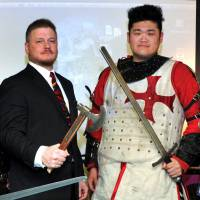 Revealed: Jay Noyes scouted Yasushi Ami (right) for the Japan Armored Battle League. Ami now fights as a knight for the Sanglier team and is expected to be a member of the national team for the next Battle of the Nations tournament. | YOSHIAKI MIURA