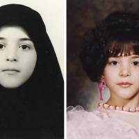 Left: Sahel during her days in the orphanage in Iran. Right: Sahel has her photo taken at a studio on the day she left the institution.  | COURTESY OF SAHEL ROSA
