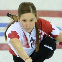 A stone's throw: Canada's Kaitlyn Lawes throws the stone in the gold medal game on Thursday in Sochi, Russia | AFP-JIJI