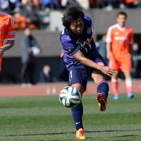 Best foot forward: Hisashi Sato (right) figures to play a vital role for Sanfrecce this season.   AFP-JIJI