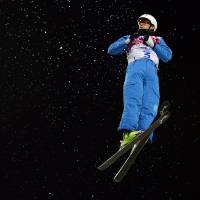No limits: Anton Kushnir of Belarus executes a jump during the final of the men's aerials at the Rosa Khutor Extreme Park at the Sochi Olympics on Monday. | AFP-JIJI