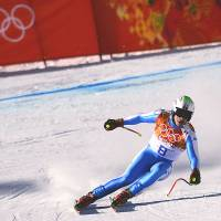 Skiers steady nerves for 'treacherous' downhill course