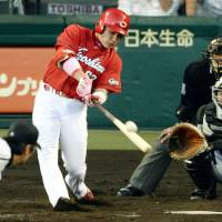 Moving up the charts: Yoshihiro Maru is one of the up and coming players to keep an eye on during the 2014 season.   KYODO
