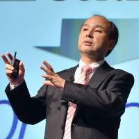 SoftBank Corp. founder and President Masayoshi Son announces the company's financial results at a press briefing in Tokyo in February.   AFP-JIJI